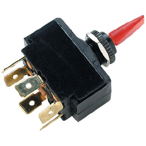 On Toggle Switch for Boats Off Red Illuminated DPDT 3 Position On