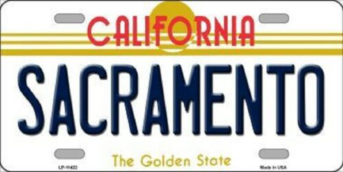 SACRAMENTO CALIFORNIA STATE BACKGROUND METAL NOVELTY LICENSE PLATE TAG