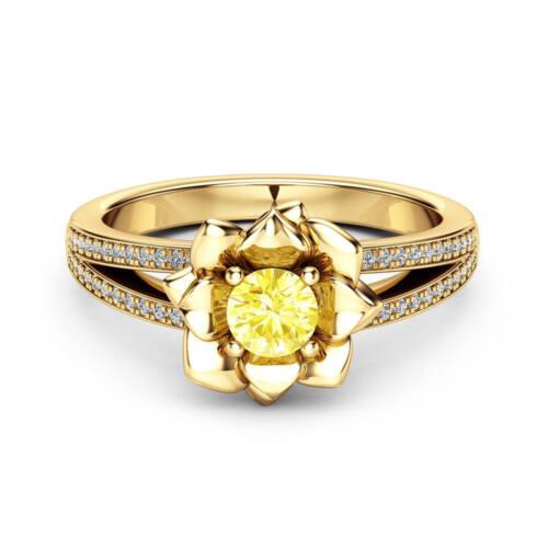 Fashion Fleur Anneaux pour femmes 18k jaune plaqué or citrine Bijoux Taille 6-10