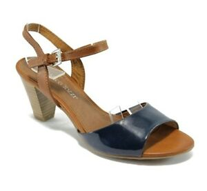 be9416bffb Marco Tozzi Womens UK 4, 6.5 & 7 Navy Blue Combi Patent Strappy Mid ...