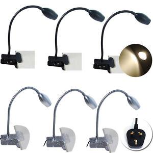 1-2x-Flexible-LED-Desk-Lamp-Clip-On-Bed-Reading-Table-Light-Black-Sliver-3W-UK