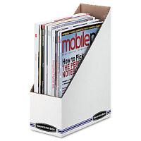 Bankers Box Corrugated Cardboard Magazine File 4 X 9 1/4 X 11 3/4 White 12 on sale