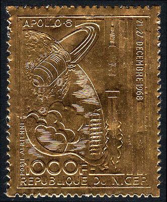 Geprägt Auf Gold Folie Postfrisch Apollo 8 Trip Around Moon Niger C111 1969
