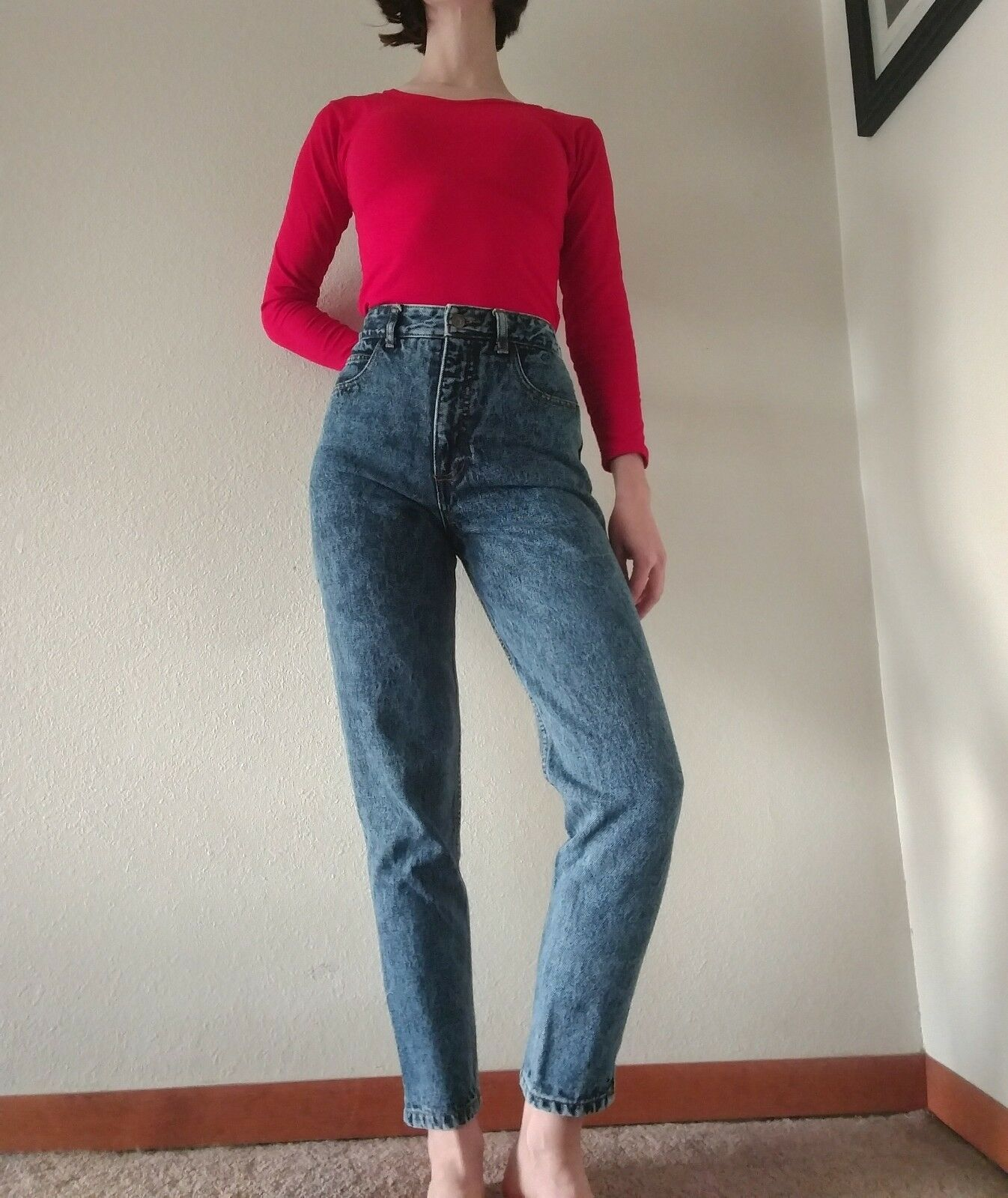 VTG Guess Mom Jeans High Waist Tapered Ankle Zip Stone Wash 25x27 (tag 27)