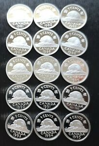 CANADA-LOT-OF-15-FIVE-CENTS-PROOF-CAMEO-1981-1995