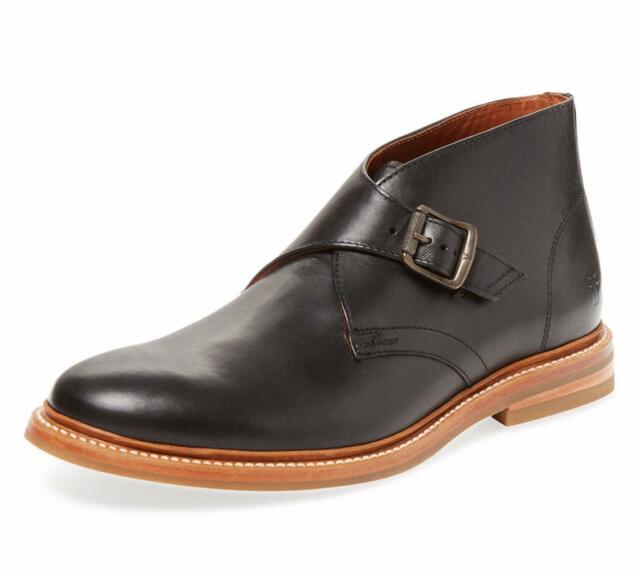 New - $358 FRYE William Monkstrap Black Leather Chukka Boots Size 9