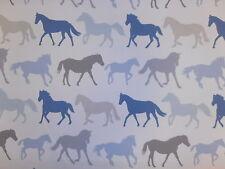 Clarke & Clarke STAMPEDE Denim CAVALLI stampa Curtain morbido tessuto per arredamento
