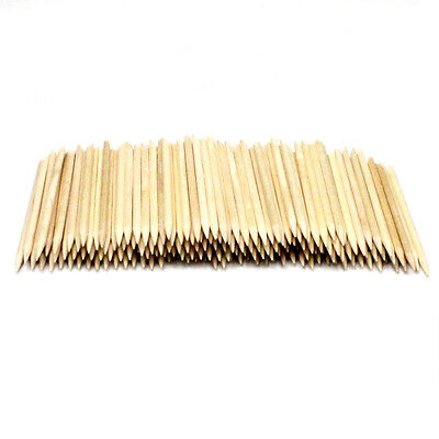 100 Lot Orange Wood Nail Art Stick Pusher Remover Cleaner Pedicure Manicure Tool