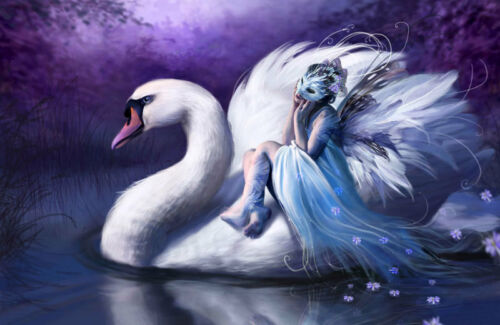 Fantasy Girl Swan Purple 3D Full Wall Mural Large Print Wallpaper Home Decal Dec