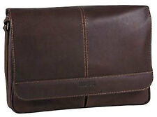 Kenneth Cole Reaction Leather Risky Business Messenger Bag Briefcase - Brown