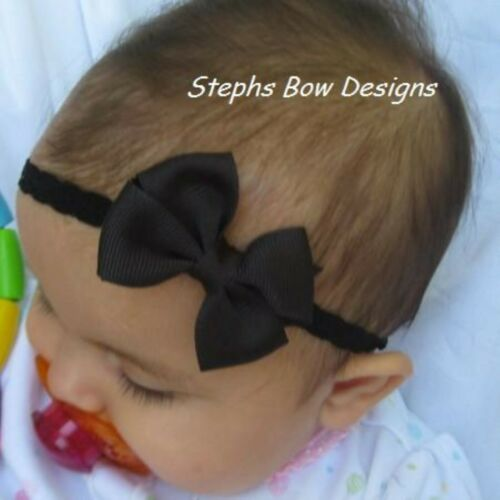 Black Dainty Hair Bow Headband 4 Preemie Newborn Baby Toddler Easter Halloween