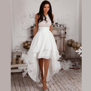 High Low White/Ivory Summer Beach Short Wedding Dress Bridal Gown ...