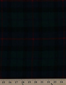 100% Wool Coating Plaid Red Black Blue Green Check Fabric By the Yard D374.14
