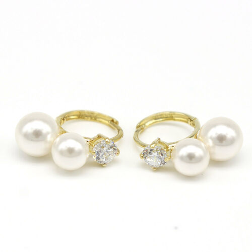 14k Solid Yellow Gold Earring 3340 Two Pearl Earring