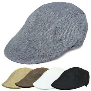 0a1fcc026ae Men s Summer Plain Linen Newsboy Gatsby Cap Ivy Hat Golf Driver Flat ...