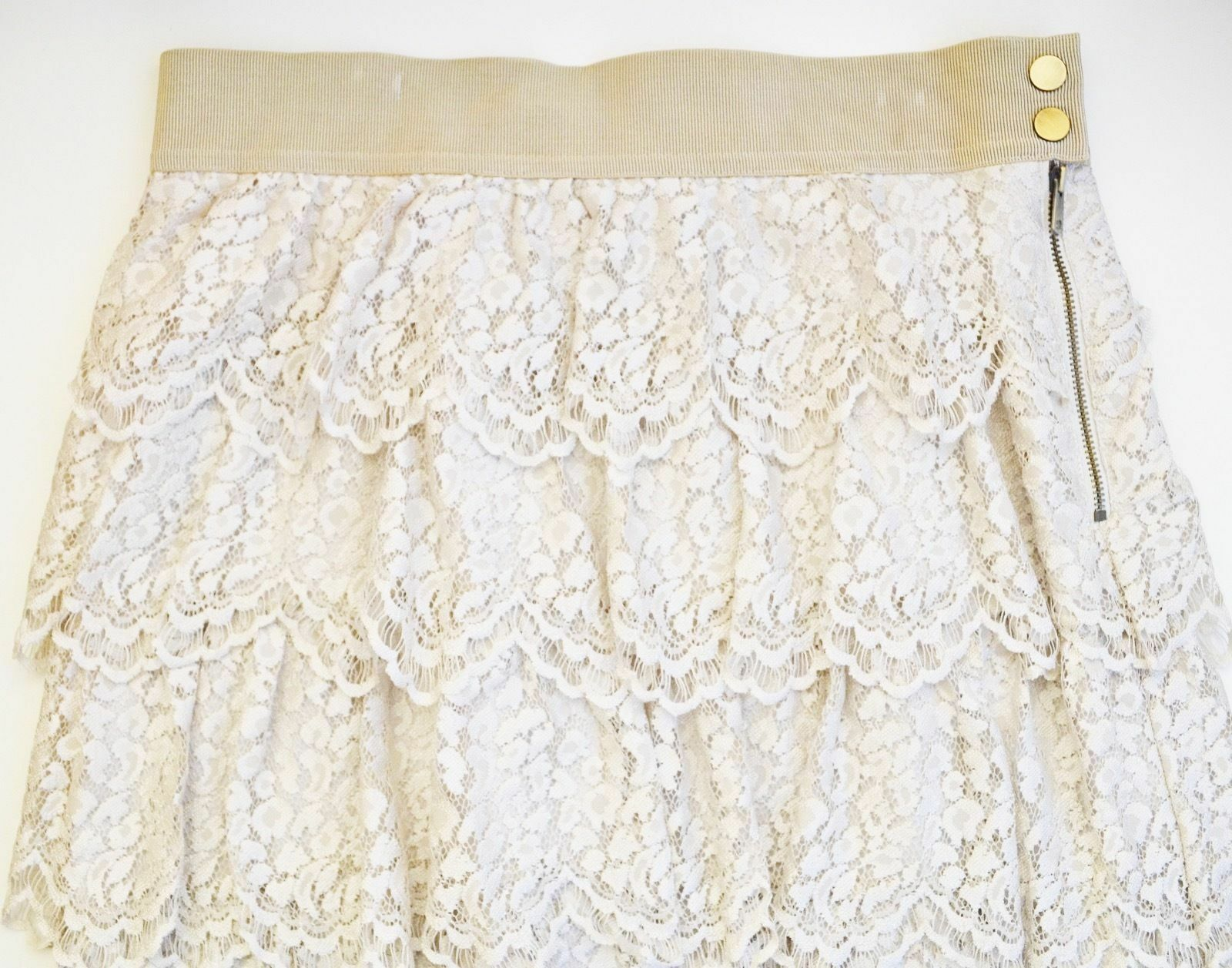 Ann Taylor Antique Tiered Lace Skirt in Ivory - Size 12 New With Tags