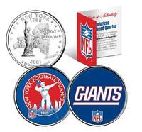 York Giants Retro & Team Logo Colorized Quarters 2-coin Set Nfl Licensed
