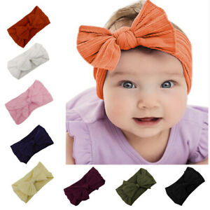 KE-Toddler-Girls-Baby-Turban-Solid-Headband-Hair-Band-Bow-Accessories-Headwea