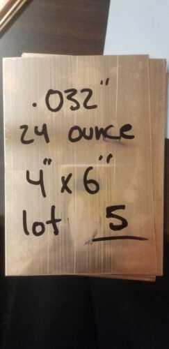 "5 piece of Copper Sheet  .032/"" 24oz   6/""X4/"" C 10100 lot of 5"