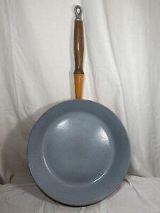 Vintage Le Creuset Skillet Wooden Handle #28 Frying Pan Red Orange Flame France