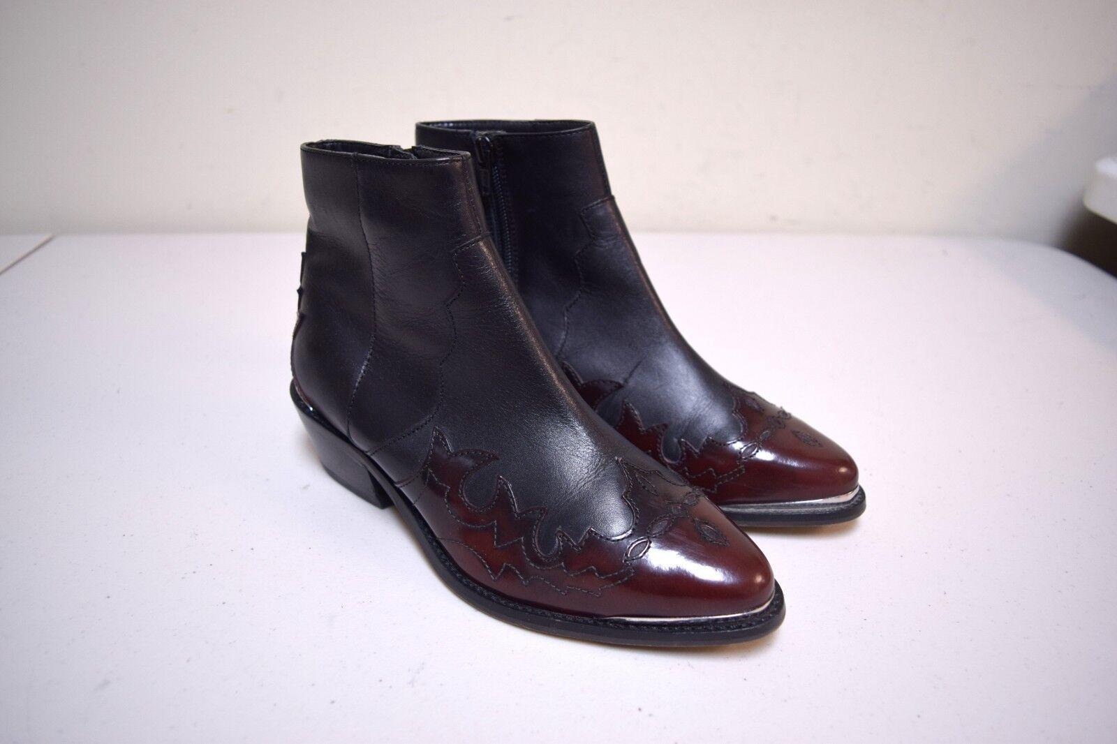 ASOS Western Style Side Zipper démarrageies bottes w Contrast Patent Toe Detail Taille 6
