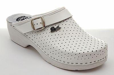 Dr punto Rosso Bril B2 de cuero para mujer Slip On Suecos Mulas Zapatillas Zapatos, Blanco