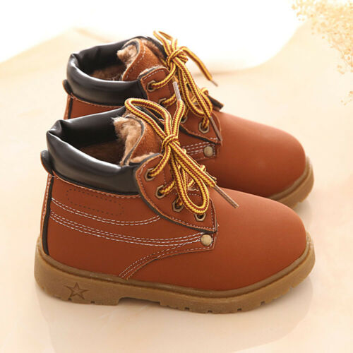 Boys Girls Winter Autumn Martin Boots Warm Lace Up Flat Ankle Snow Boots Shoes