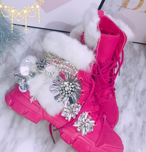 Women Boots Lace Up Rhinestone Fur Decor Wedge Mid Heel shoes Motor Round Toe