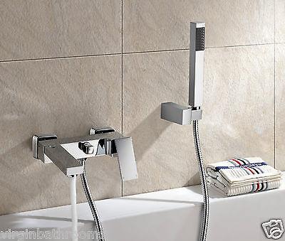 BRAYTON CUBE WALL MOUNTED MODERN BRASS CHROME BATH SHOWER MIXER BATHROOM TAP