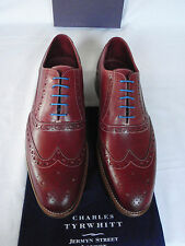 NEW Mens Charles Tyrwhitt Red Calf Leather Brogue Sleek Lace Up Shoes UK 10 F