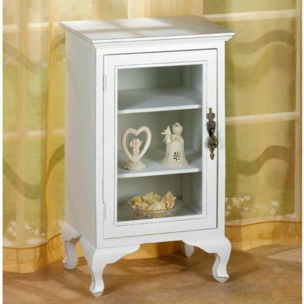 Wood Display Cabinet Storage White Distressed Glass Door ...