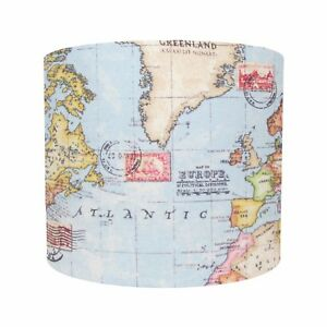Lampshade world map atlas blue earth nautical fabric geography image is loading lampshade world map atlas blue earth nautical fabric gumiabroncs