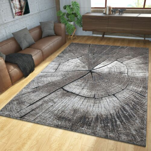 Teppich Modern Edel Mit Konturenschnitt Baumstamm Natur Design Grau Braun Beige