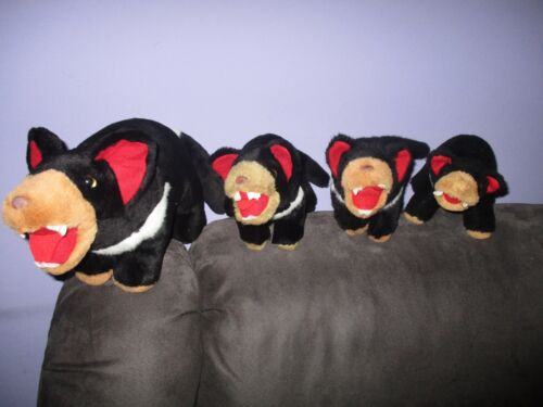 1 ADULT and 3 BABY Tasmanian Devils soft plush toys,bulk lot