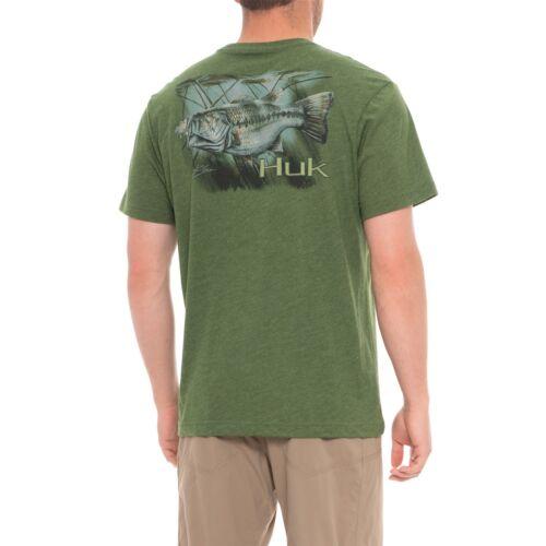 HUK Lilly Pad Bass S//S Moisture Wicking Fishing Shirt Heather Green Choose Size