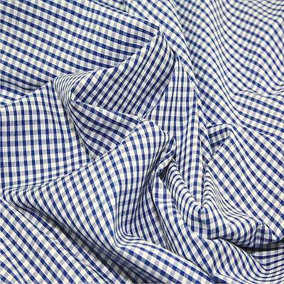 "ROYAL BLUE 1/8"" Gingham Check poly cotton material sold by the metre 115cm wide"