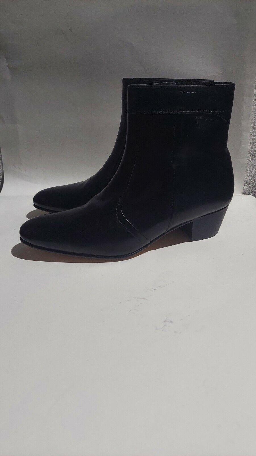 SHUPERB Mens Leather Smart Cuban Heel Ankle Boots UK Size 8.5#761