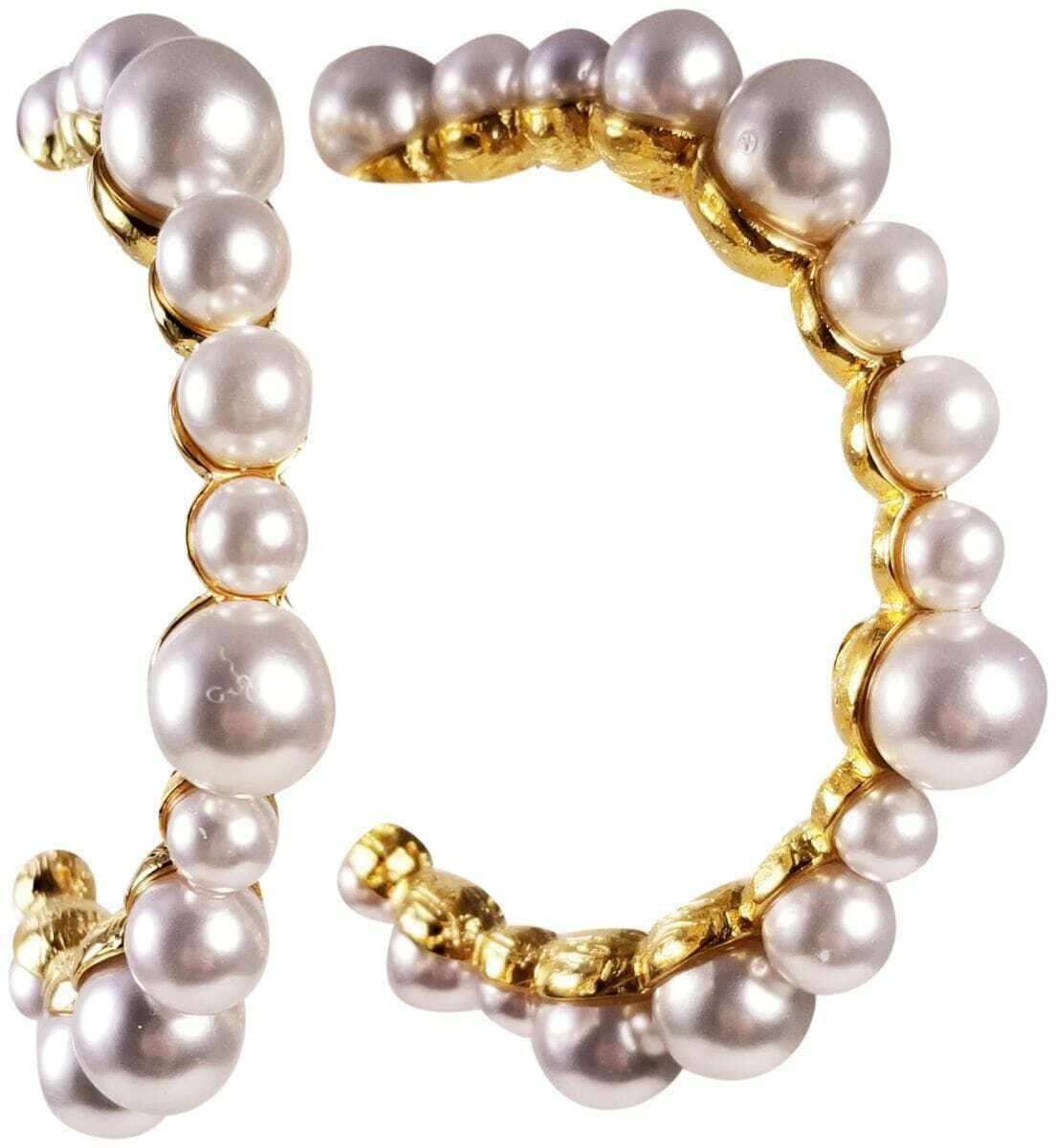KENNETH JAY LANE, MULTI PEARL gold HOOP EARRING, 2.5  INCHES