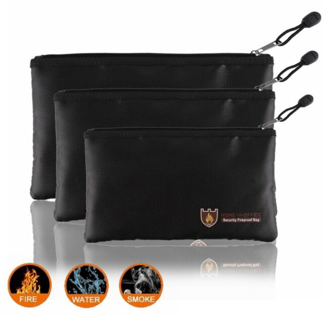 Fireproof Document BagLarge /& Small Fireproof Bag Set Safe Storage for Money,