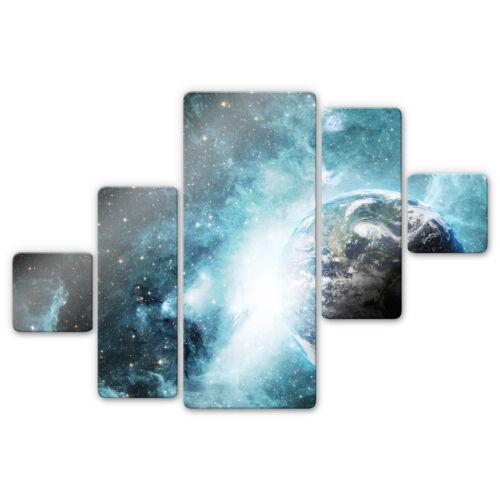 5-teilig blau WANDDEKO ESG SICHERHEITSGLAS Glasbild In einer fernen Galaxie