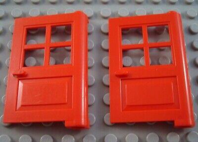 LEGO Lot of 2 Red 1x4x5 4 Pane Doors