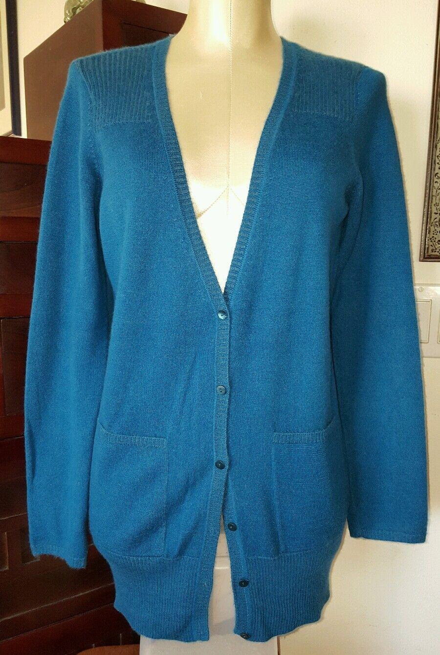 EILEEN FISHER 100% Cashmere Cerulean bluee Longer Boyfriend Cardigan Sweater sz S
