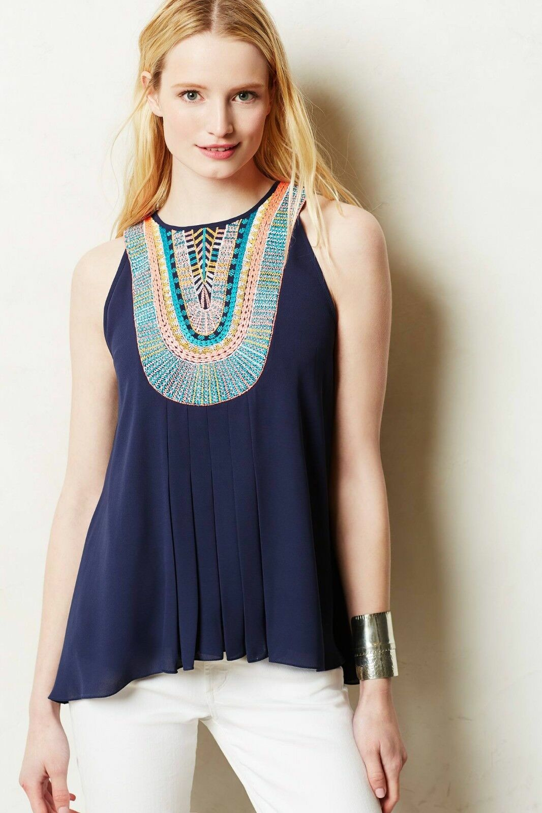 NIP Anthropologie by Ranna Gill, Embroidered Atoll Tank Top, L, Navy,  148