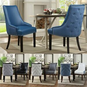 Iconic-Home-Brando-Dining-Chair-PU-Leather-Linen-Nailhead-Trim-Set-of-2