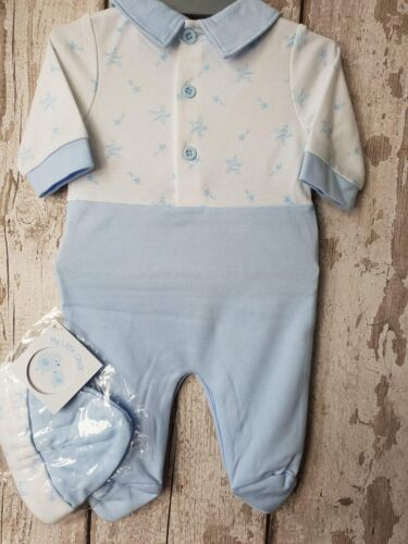 """Babygrow Outfit. Sleepsuit with Hat Set Baby Boy /""""Stars/"""" All In One"""