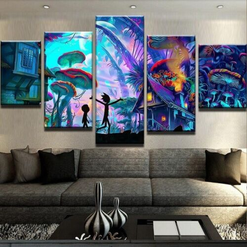 VV463 HD Printed Painting on canvas Home Decor art 5Pcs/set Rick and Morty