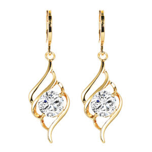 Fashion-Women-18K-Gold-Plated-Curve-White-Round-CZ-Drop-Earrings-Jewelry-Party