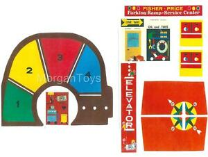 Vintage-FISHER-PRICE-Little-People-GARAGE-930-REPLACEMENT-LITHOS-STICKERS-DECALS