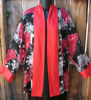 Art To Wear Black And Red Floral Silk Kimono Jacket By Aris.a ,47b, Sz Large