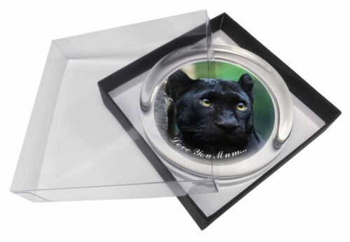 Black Panther /'Love You Mum/' Glass Paperweight in Gift Box Christmas AT-1lymPW